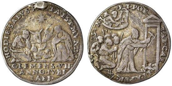 Very rare Pope Clemens VII quarto di ducato, Jubilee 1525. Church's Papal Vatican State.