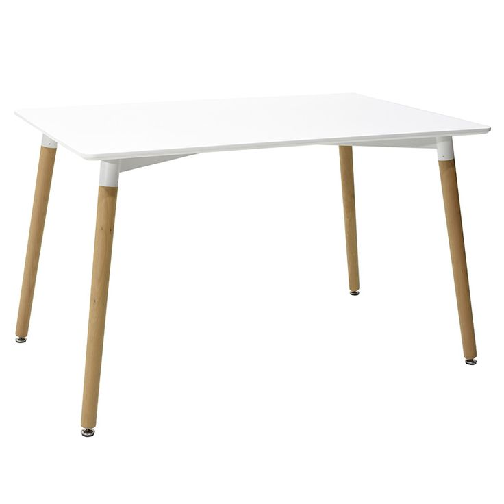 Rectangle table Natali MDF top white 120x80x73