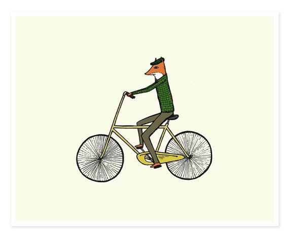 Mr. Fox on a Bicycle  8 x 10 Illustration Print by hellosmallworld, $18.00