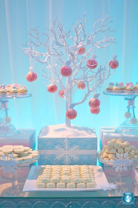 Winter Wonderland. Birthday Party. Baby Shower. I want to do a tree like this, except without the pink ornaments!