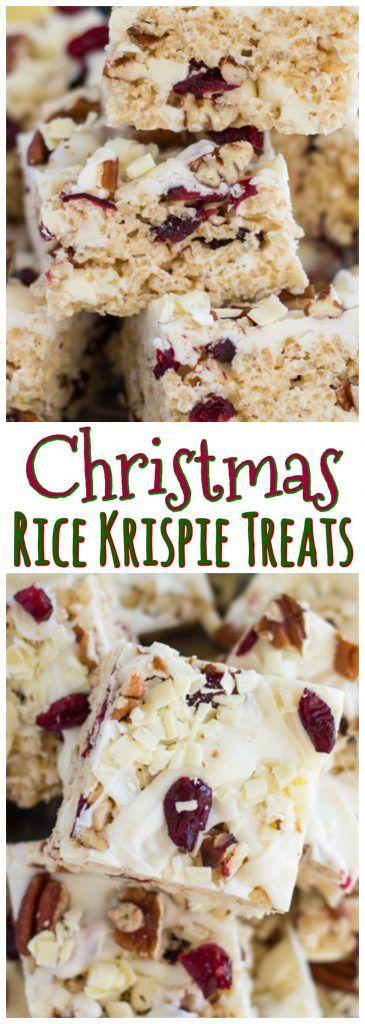 White Chocolate Cranberry Pecan Rice Krispie Treats recipe image thegoldlininggirl.com pin 4