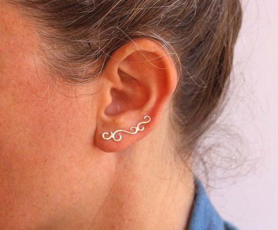 Ear cuff Sterling silver ear crawler swirl by anatajewelry on Etsy