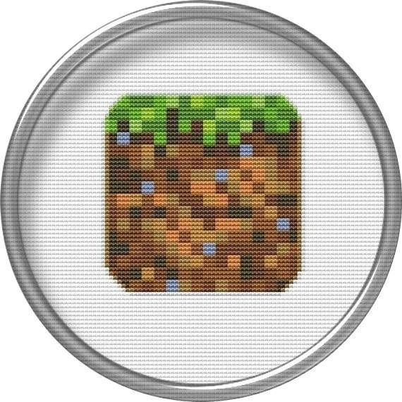 Cross stitch chart Block of land _ Minecraft Cute modern Minecraft computer games pattern - for hand embroidery and for embroidery sewing machine. You get this pattern in symbols on a colored background (PDF), a full color chart (JPG) and a list of DMC colors that youll need. You