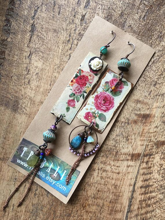 73a8287b9 Assemblage Roses Bohemian Jewelry dangle earrings 155. mixed media .  collage on metal . flowers vintage garden . handmade boho folk jewelry