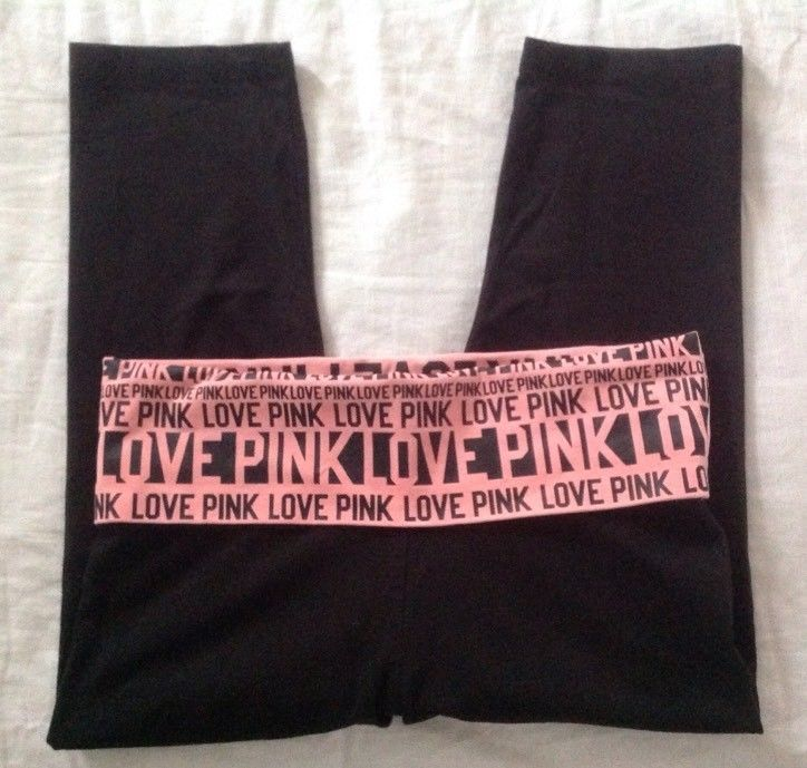 Victoria's Secret Pink Yoga Pants Sz S Lounge Black Skinny Crop Capri Fold Over #VictoriasSecretPINK #PantsTightsLeggings