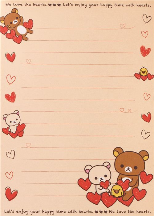 white Rilakkuma bear with red hearts Note Pad con pegatinas 5