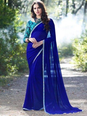 Tanjore Royal Blue Printed Georgette Saree #RoyalBlue #Saree