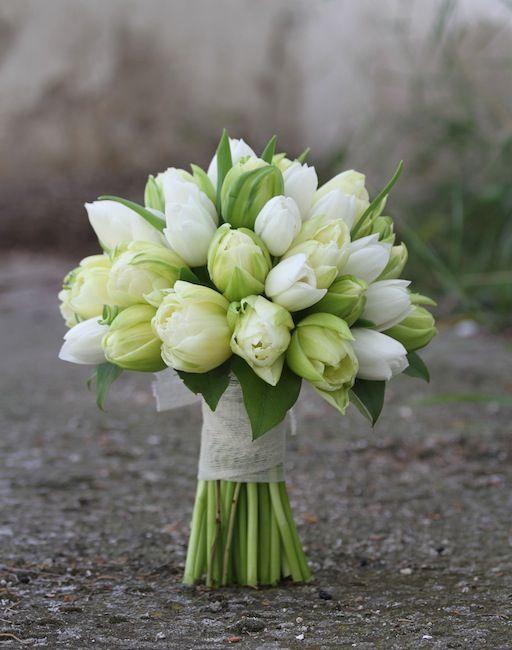 buquet de tulipanes blancos www.bukkaflores.com