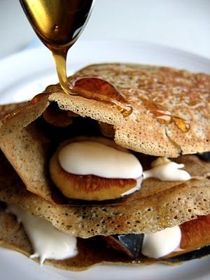 Alice Waters' Buckwheat Crepes, with figs, crème fraiche and honey, from The Bojon Gourmet