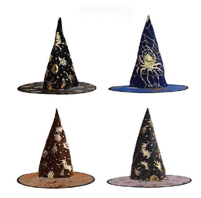 Бесплатная доставка. 20 шт./лот черный хэллоуин ведьмы шляпу, Печать паук / ну вечеринку шляпа, Подходит для детей и взрослых