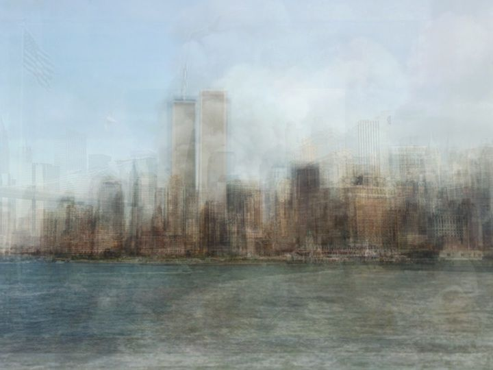 """Corinne Vionnet, World Trade Center, New York, - 2011    """"Switzerland-based Corinne Vionnet is our guide to the world's most famous landmarks, monuments millions have visited before. Her art ... is made by combining hundreds of tourist photos into one. After conducting an online keyword search and sifting through photo sharing sites, this Swiss/French artist carefully layers 200 to 300 photos on top of one another until she gets her desired result"""""""