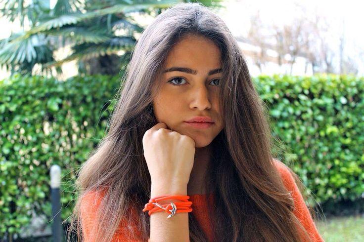 Red parachut cord silver anchor bracelet.  Elli & Moretti Rome