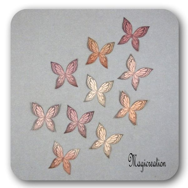 stickers ailes papillons soie 3.5 cm harmonie marron motifs Ysatis-lot de 10 : Décorations murales par magicreation