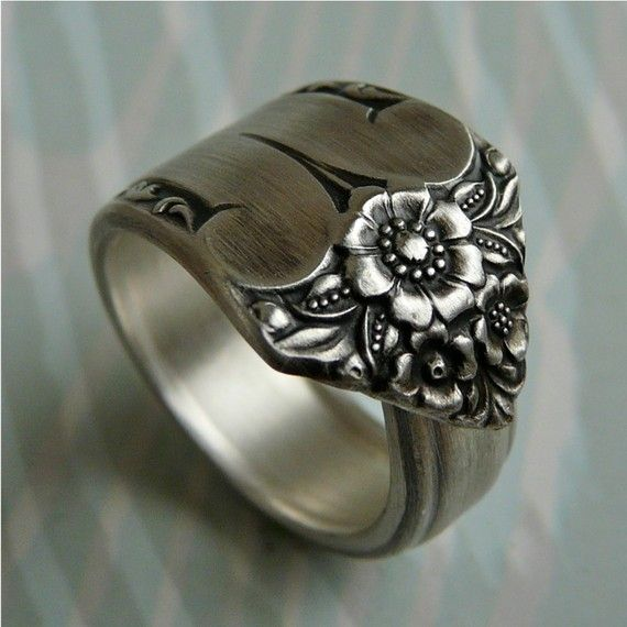 antique spoon upcycled into a ring. <3  I LOVE spoon rings!