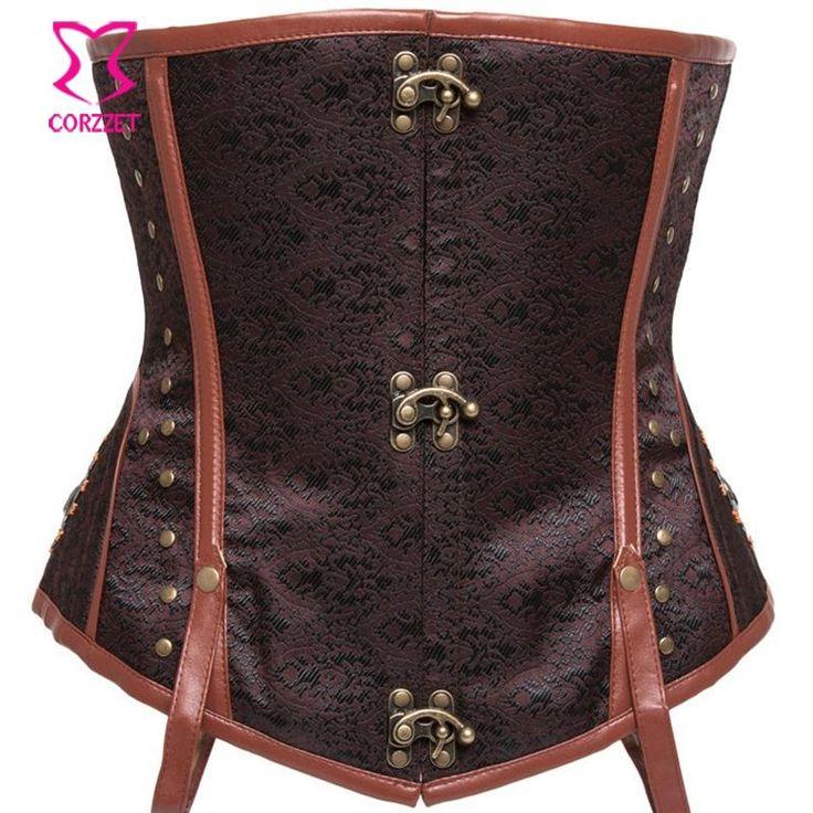 Steampunk roupas femininas Plus Size Corset aço óssea Corselet Underbust…