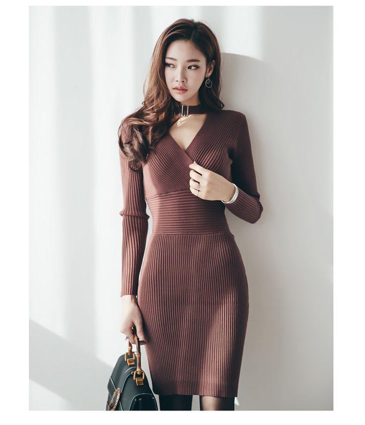 2017 mulheres de inverno preto de malha bandagem do vintage bodycon dress vestidos sexy vestidos de festa plus size com decote em v lápis slim dress em Vestidos de Das mulheres Roupas & Acessórios no AliExpress.com   Alibaba Group