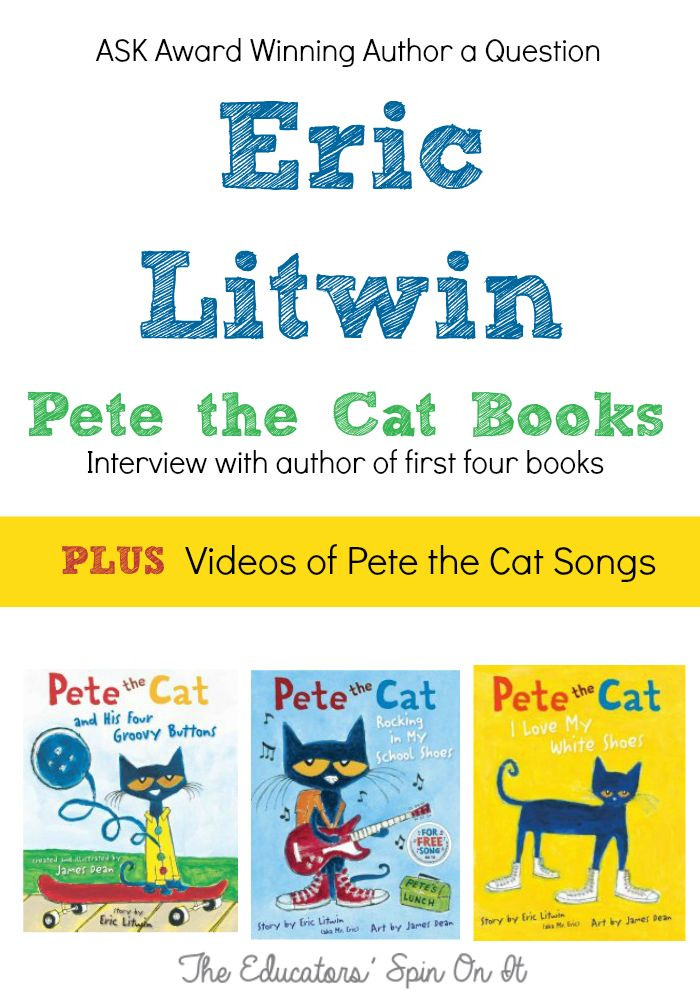 Here's a chance to ask award winning author Eric Litwin a question for an upcoming interview!  Plus watch his Pete the Cat Videos and Songs.