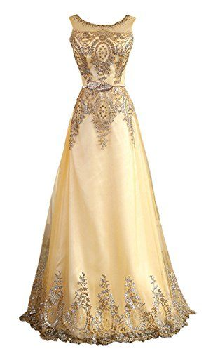 TSRJ Womens Sheer Straps Crystal Beading Sequins Mother of the Bride Dress Golden US16 ** See this great product.(This is an Amazon affiliate link)