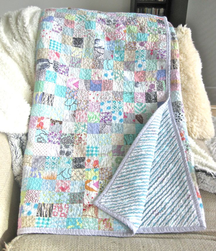 Faux Chenille Quilt - great idea of using a quilt top on one side and flannel for the chenille side !