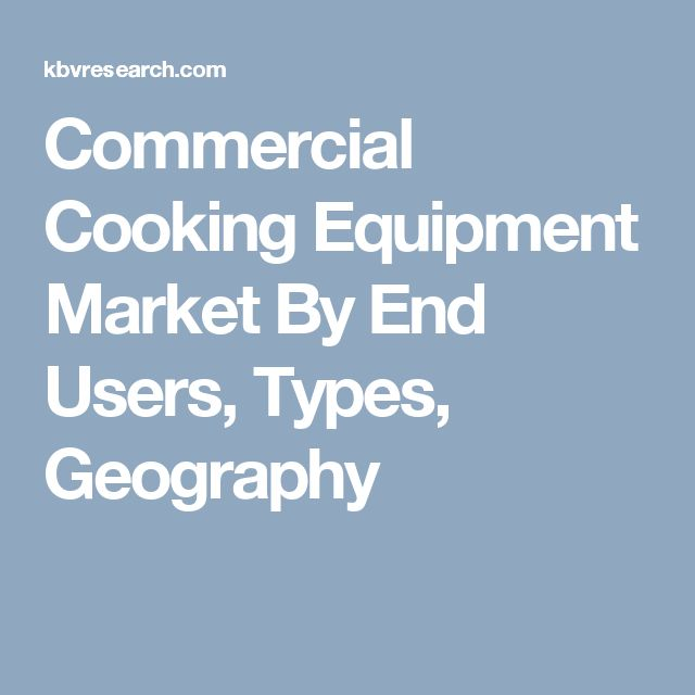 Commercial Cooking Equipment Market By End Users, Types, Geography