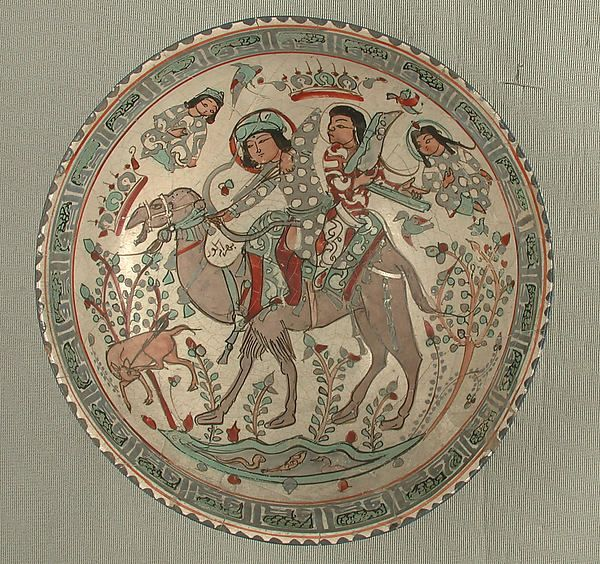 "Bowl Date: 12th–13th century Geography: Iran Culture: Islamic Medium: Stonepaste; overglaze painted, so-called ""mina'i"" ware"