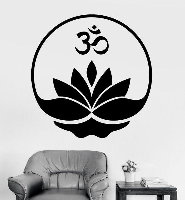 2016 Yoga criativa adesivos de parede buda Mandala Om Mantra Zen meditação de lótus Vinyl Decal Pattern Home Decor