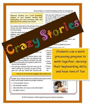 CRAZY Stories–A Word Processing Activity for Grades 3-8