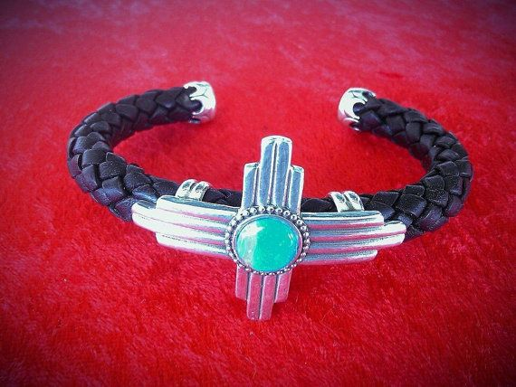 CZ1 Sterling Silver Zia Symbol with Turquoise Braided Leather