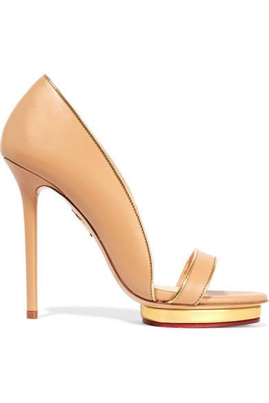 Heel measures approximately 125mm/ 5 inches with a 15mm/ 0.5 inch platform Beige and gold leather Slip on Designer color: Nude/ Gold Made in Italy