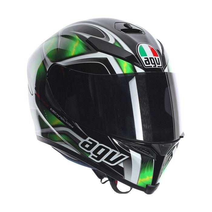 AGV  nous présente son  casque intégral , le  casque K5 Hurricane  en coloris noir et vert.   C'est au tour de la  gamme K-5  d'être conçue selon la  technologie