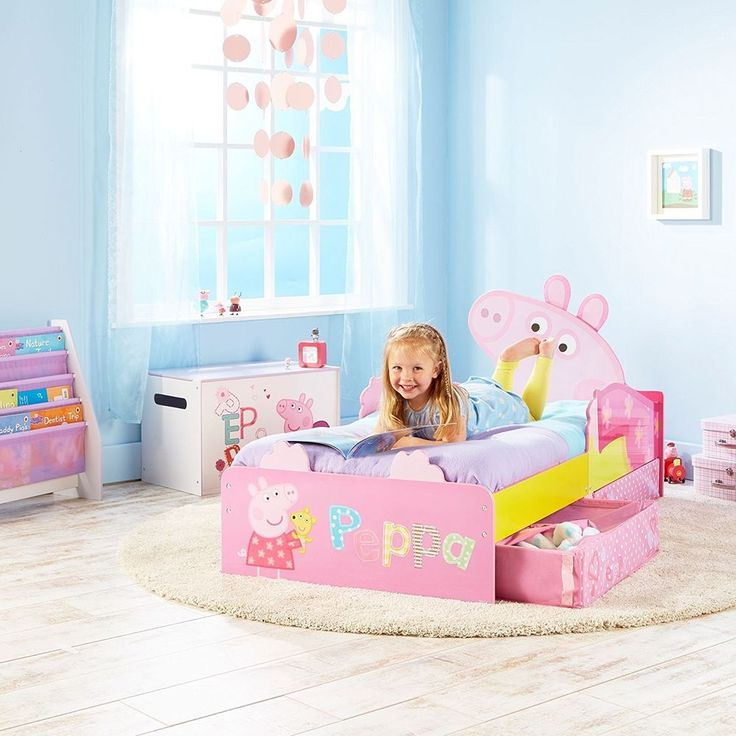 PEPPA PIG PINK TODDLER JUNIOR STORAGE BED + MATTRESS AVAILABLE NEW FREE P+P  #PeppaPig