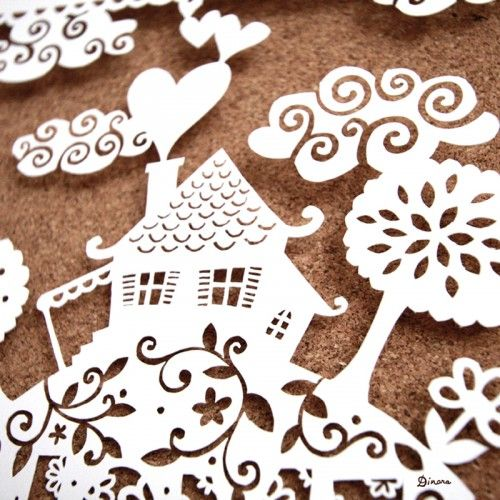 Amazing Home Sweet Home papercut by Dinara Mirtalipova via http://ohsobeautifulpaper.com