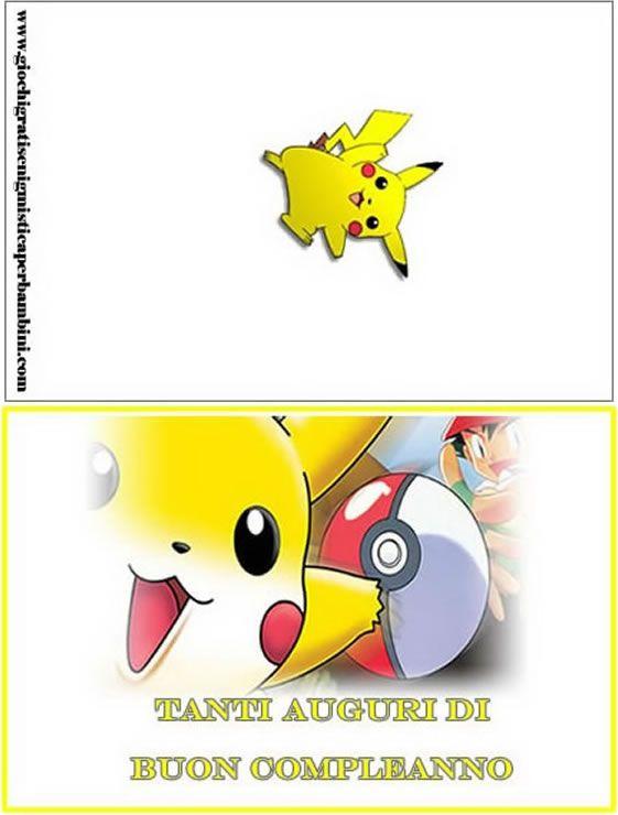 biglietti auguri di compleanno pokemon