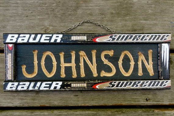 Custom Carved Personalized Hockey Stick Name Sign