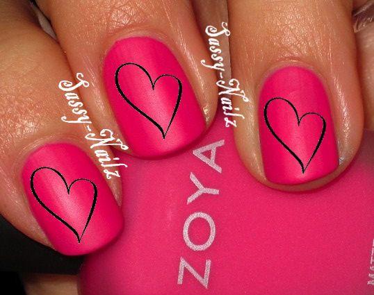 Love Heart Nail Art Transfer Decal by SassyNailzIreland on Etsy, $3.00