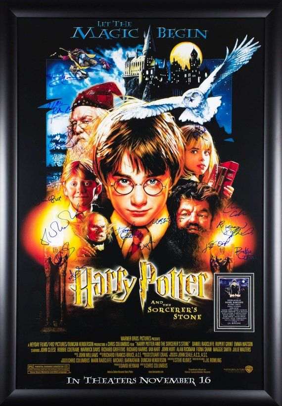 Harry Potter And The Sorcerer S Stone Cast Signed Movie Poster Harry Potter Movie Posters Harry Potter Poster Poster Prints