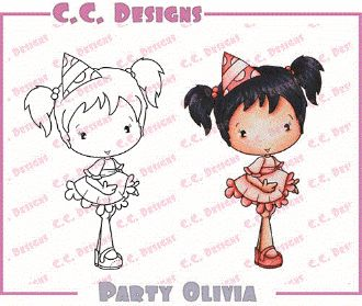 "C.C. Designs Swiss Pixie ""Party Olivia"" Rubber Stamp  PRICE: $5.60 at Quick Creations! #C.C.Designs #Birthday #CardMaking #Stamping #PaperCrafts"