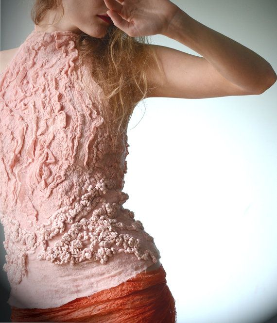 Eco fashion top  Nuno felted top in light classic rose by vilte, $339.00