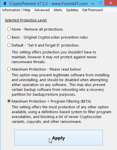 CryptoPrevent 7.3.5 - CryptoPrevent is a tiny utility to lock down any Windows OS (XP, Vista, 7, 8, 8.1, and 10) to prevent infection by the Cryptolocker malware or 'ransomware', which encrypts personal files and then offers decryption for a paid ransom.  Incidentally, due to the way that CryptoPrevent works, it actually protects against a wide variety of malware, not just Cryptolocker! (click image to download from OlderGeeks.com)  #malware #spyware #viruses