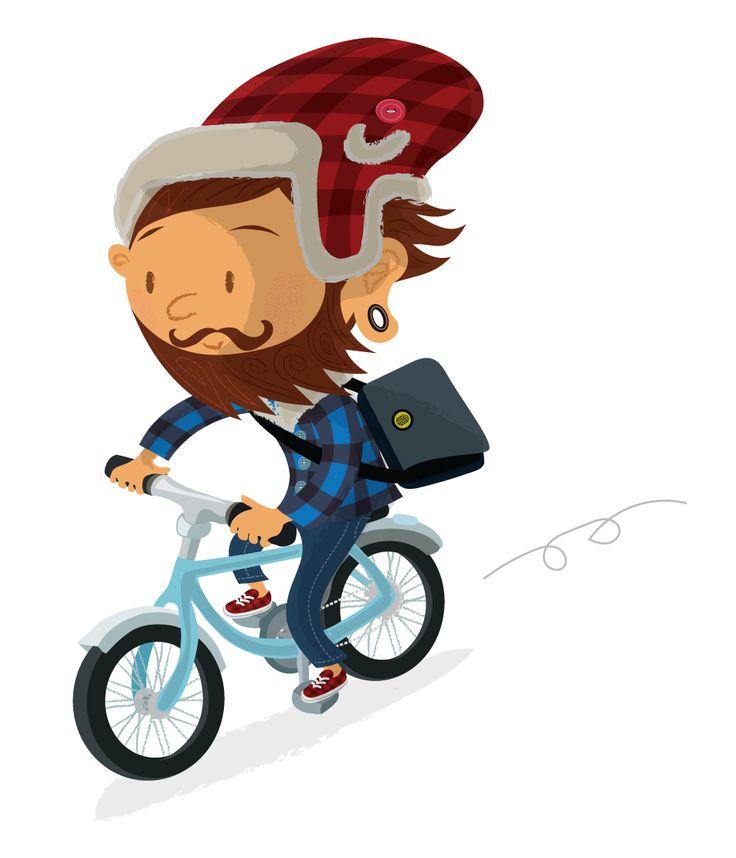 Lumbersexual, #bicycle, #hipster, #goingtowork