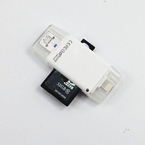 Sd Card Reader Tf Card Reader Micro SD Card Reader Drive Flash Adapter USB UDisk Extra Memory Data Stick 2Way Storage for IOS 9 iPhone 5 6 6S Plus  MAC PC Compatible With 128G Micro SD Card * You can find more details by visiting the image link.
