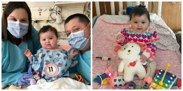 Baby girl from Denver, NC, on the mend following the first-of-its-kind pediatric heart transplant surgery performed at Levine Children's Hospital.