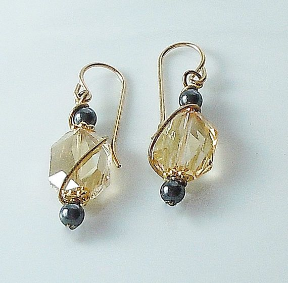 Swarovski Crystal Golden Shadow Wire Wrapped Earrings