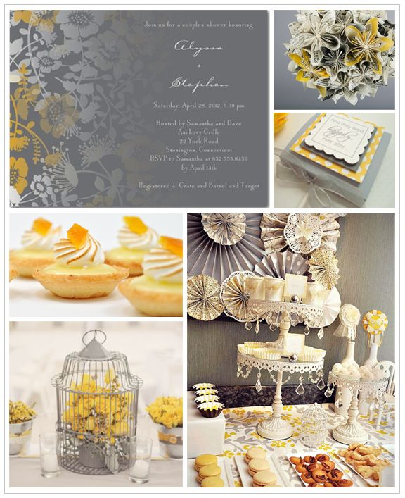 Gray and Yellow Bridal Shower Inspiration Board