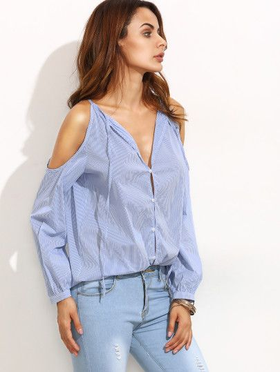 Blusa a rayas hombros al aire escote V - azul-Spanish SheIn(Sheinside) Sitio Móvil