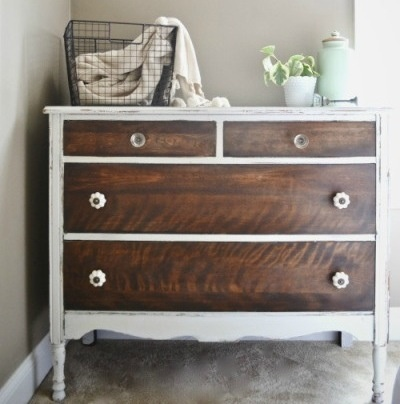 How To Strip Painted Furniture- love the painted dresser with wood drawers - 200+ Best Stained, Painted & Waxed Furniture Images On Pinterest