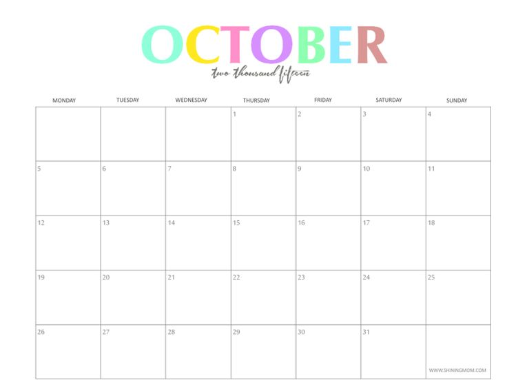 October 2015 Calendar Printable 736 x 568