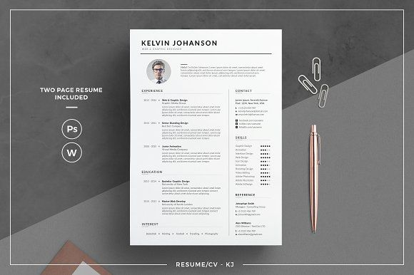 Resume/CV - KJ by tnsdesign on @creativemarket