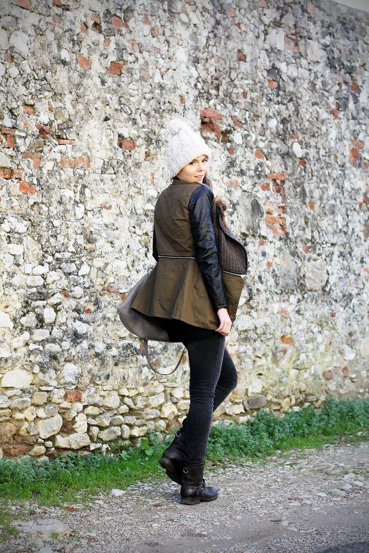 giacca con maniche in pelle