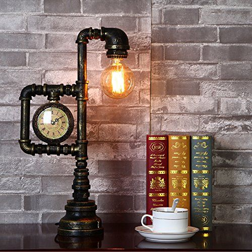 1000+ ideas about Pipe Lamp on Pinterest | Lamps, Steampunk lamp ...Injuicy Lighting Vintage Industrial Water Pipe Table Light Edison Desk Accent Lamp With Clock Bar